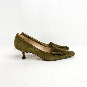 MANOLO BLAHNIK Pointed Dark Olive Kitten Loafers
